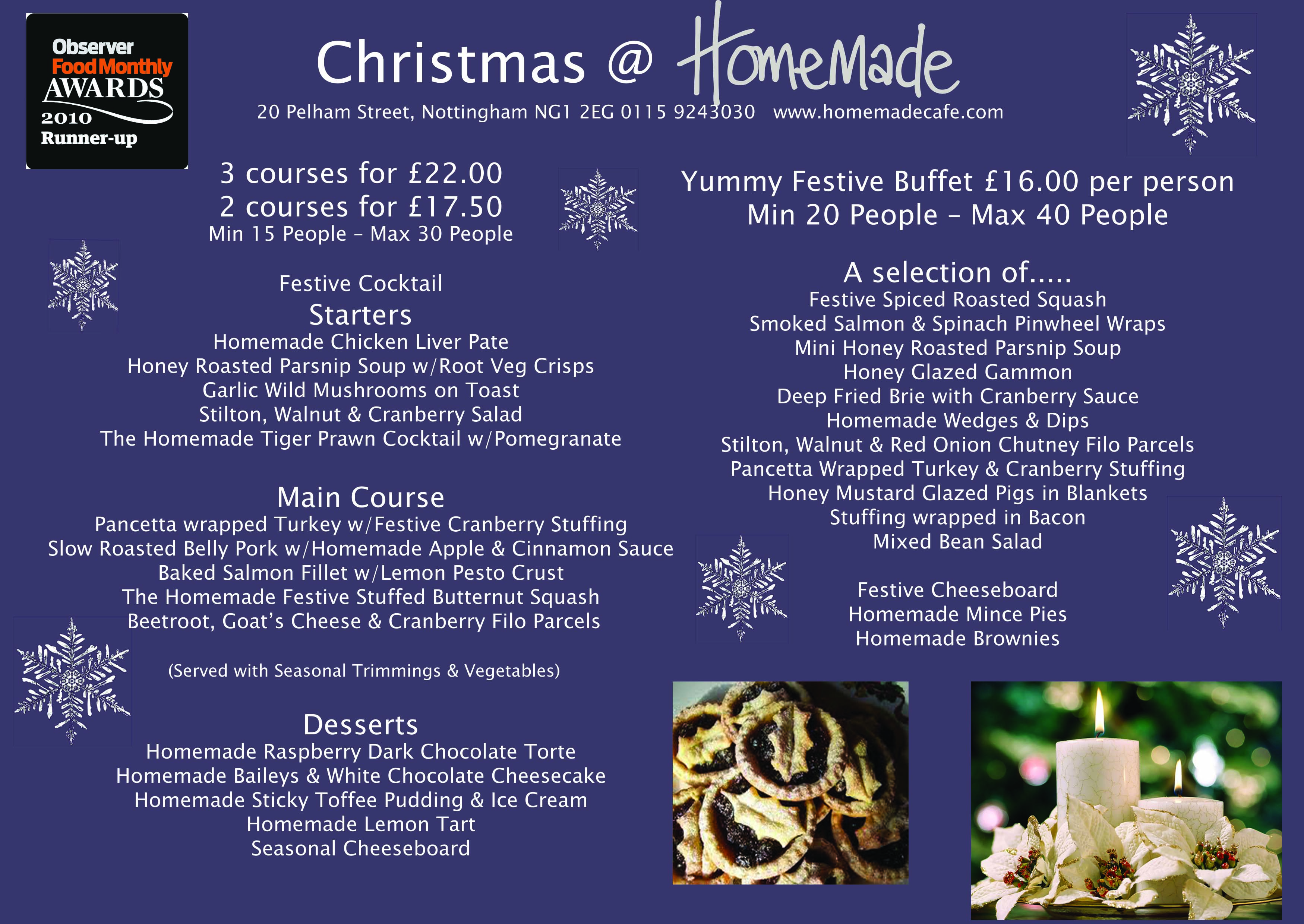 Homemade Christmas Menu 2012