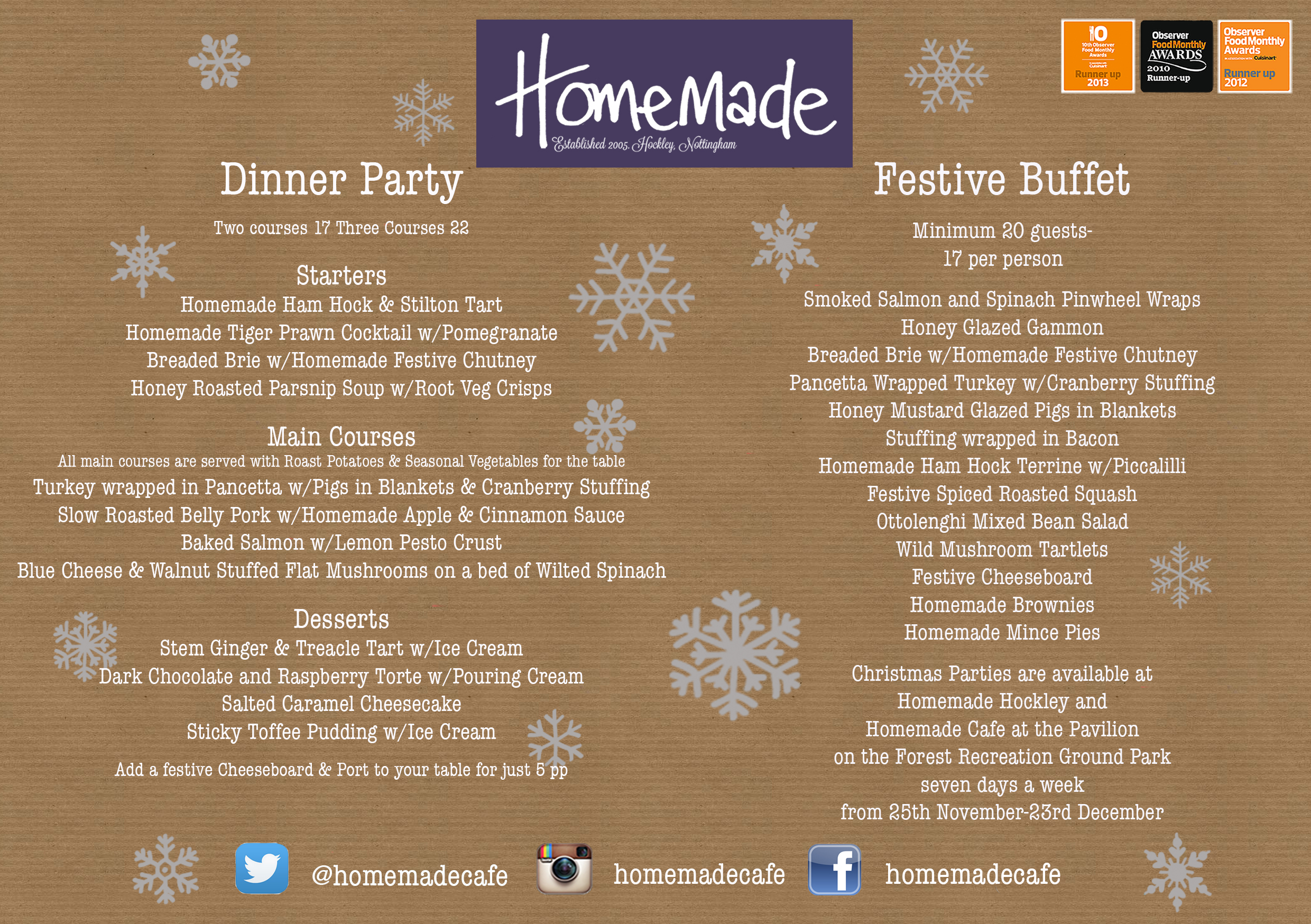 Homemade Christmas Menu 2015